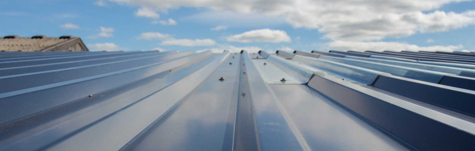 Metal roofing installed on a farm building